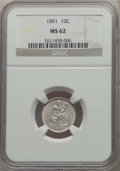 Seated Dimes: , 1891 10C MS62 NGC. NGC Census: (125/657). PCGS Population: (134/673). Mintage 15,310,600. ...