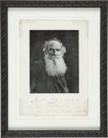"Books:Literature Pre-1900, Leo Tolstoy. Photographic Portrait reproduced in halftone, inscribed by Tolstoy ""M.A. Pototsky / Lev Tolstoy / 1908, 11 Octo..."