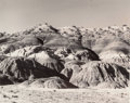 """Photographs:Gelatin Silver, Todd Webb (American, 1905-2000). O'Keefe's """"Black Place""""- New Mexico, 1957. Gelatin silver. 8-1/8 x 9-7/8 inches (20.6 x..."""