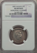 Coins of Hawaii , 1883 25C Hawaii Quarter -- Improperly Cleaned -- Details NGC. AU. NGC Census: (33/1208). PCGS Population: (99/1691). CDN: $...