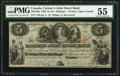 Canadian Currency: , Canada Toronto, UC - The Farmer's Joint Stock Bank $5 Feb. 1, 1849Ch. # 280-12-06.. ...