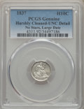 Seated Half Dimes, 1837 H10C No Stars, Large Date (Curl Top 1) -- Harshly Cleaned -- PCGS Genuine. Unc Details. NGC Census: (5/714). PCGS Popu...