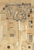 Fine Art - Painting, American, Lynette Susseberg (20th Century). Wall, 1977. Sand andacrylic on canvas. 75-1/2 x 51-1/2 inches (191.8 x 130.8 cm).Sig...