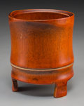 Asian, A Chinese Bamboo Brush Pot. 6 inches high (15.2 cm). ...