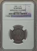 1806 1/2 C Small 6, No Stems -- Improperly Cleaned -- Details NGC. VF. NGC Census: (0/0). PCGS Population: (30/701). VF2...