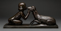Charles Raphael Peyre (French, 1872-1949) Girl Kissing Lamb Bronze with brown patina 12 inches (3