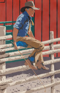 Paintings, Thom Ross (American, b. 1953). Cowboy on a Fence, 1981. Acrylic on Masonite. 36 x 24 inches (91.4 x 61.0 cm). Signed and...