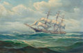 Fine Art - Painting, American:Antique  (Pre 1900), Alexander Breede (American, 20th Century). The Clipper Ship,Witch of the Wave. Oil on canvas. 13 x 20 inches (33.0 x 50...