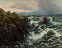 Thomas Rose Miles (British, 1844-1916) A Rocky Coast Oil on canvas 34 x 44 inches (86.4 x 111.8 c