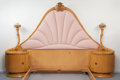 Furniture , A Terence Harold Robsjohn-Gibbings Upholstered, Blond Wood and Gilt Bronze Bed Commissioned for Casa Encantada, circa 1930. ... (Total: 6 Items)