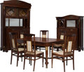 Furniture , A Nine-Piece French Art Nouveau Mahogany Dining Suite, circa 1900. 88-1/2 h x 54 w x 20-3/4 d inches (largest, cabinet). ... (Total: 11 Items)
