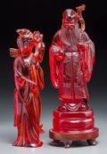Asian:Chinese, Two Chinese Cast Resin Figures of Shoulao and Guanyin. 11-1/2 inches high (29.2 cm) (Shoulao including base). ... (Total: 2 Items)