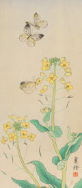 Asian:Japanese, A Japanese Woodblock Print Depicting Butterflies and YellowFlowers, signed Jyo, Meiji Period. 13-5/8 x 6 inches (34.6 x 15....
