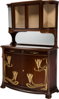 Furniture : French, A Louis Majorelle-Style Art Nouveau Mahogany Buffet with WheatMotif, probably France, early 20th century and later. 77 h x ...