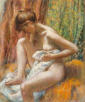 Fine Art - Painting, American, Paul Lewis Clemens (American, 1911-1992). After the Bath.Pastel on board. 29 x 24 inches (73.7 x 61.0 cm). Signed lower...