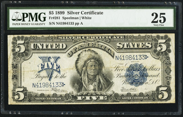 Fr. 281 $5 1899 Silver Certificate PMG Very Fine 25.. ... Large ...