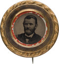 Political:Ferrotypes / Photo Badges (pre-1896), Ulysses S. Grant: Unlisted and Distinctive Ferrotype Stickpin. ...