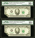 Error Notes:Foldovers, Printed Fold Error Fr. 2079-A $20 1993 Federal Reserve Notes. TwoConsecutive Examples. PMG Choice Very Fine 35 EPQ.. ... (Total: 2notes)