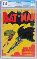 Golden Age (1938-1955):Superhero, Batman #1 (DC, 1940) CGC FN/VF 7.0 Off-white to white pages....