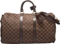 """Luxury Accessories:Bags, Louis Vuitton Damier Ebene Canvas Keepall 45 Bandouliere Bag.Condition: 2. 17"""" Width x 11"""" Height x 7"""" Depth. Propertyof..."""