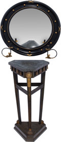 Furniture : Continental, A Neoclassical Empire-Style Wooden Stand with Ebonized and GiltwoodBullseye Convex Mirror . 34 inches high (86.4 cm) (stand... (Total:2 Items)