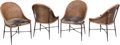 Furniture : Continental, Four Modernist Caned, Leather, and Iron Side Chairs, 20th century.33 h x 21-1/2 w x 21 d inches (83.8 x 54.6 x 53.3 cm). ... (Total:4 Items)