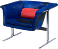 Furniture : American, A Modernist Chrome and Blue Cowhide Upholstered Armchair, late20th-early 21st century. 24 h x 28-1/2 w x 24-1/2 d inches (6...