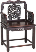 Asian:Chinese, A Chinese Carved Hardwood Armchair, Late Qing Dynasty. 38-3/4 h x25-1/4 w x 18-1/4 d inches (98.4 x 64.1 x 46.4 cm). ...
