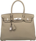Luxury Accessories:Bags, Hermes 30cm Sage Clemence Leather Birkin Bag with Palladiu...