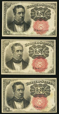 Fractional Currency:Fifth Issue, Fr. 1266 10¢ Fifth Issue Three Examples.. ... (Total: 3 notes)