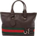 "Luxury Accessories:Bags, Gucci Brown Leather & Web Stripe Zippered Tote Bag.Condition: 3. 16"" Width x 11.75"" Height x 7"" De..."