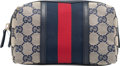 "Luxury Accessories:Bags, Gucci Blue Monogram Canvas and Leather Small Cosmetic Pouch.Condition: 1. 6.25"" Width x 4"" Height x 3.25"" Dep..."
