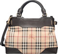 """Luxury Accessories:Bags, Burberry Dark Brown Leather Nova Check Tote Bag. Condition: 3.13"""" Width x 9"""" Height x 6"""" Depth. Property of..."""