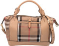 """Luxury Accessories:Bags, Burberry Blush Pink Leather and Nova Check Canvas Diaper Bag.Condition: 3. 13.5"""" Width x 10.5"""" Height x 6"""" Depth .Proper..."""