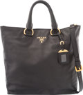 Luxury Accessories:Bags, Prada Black Lambskin Tote BagCondition: 3