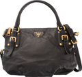 """Luxury Accessories:Bags, Prada Black Soft Calfskin Leather Shoulder Bag. Condition: 3.15"""" Width x 9"""" Height x 8"""" Depth. Property of a Lady. ..."""