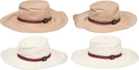 Gucci Set of Four; Gucci Beige and White Cotton Bucket Hats Condition: 1 Size Small & Medium Property of