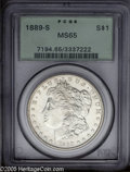 Morgan Dollars: , 1889-S $1 MS65 PCGS. Well struck design elements, and bright lustrous surfaces that are virtually brilliant. Nice overall ...