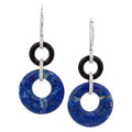Estate Jewelry:Earrings, Diamond, Lapis Lazuli, Black Onyx, White Gold Earrings. ...