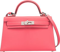 Hermes 20cm Rose Lipstick Chevre Leather Mini Sellier Kelly Bag with Palladium Hardware A, 2017 Condition: 1