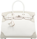 Luxury Accessories:Bags, Hermes 35cm White & Gris Perle Swift Leather Ghillies Birk...