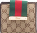 "Luxury Accessories:Accessories, Gucci Brown Monogram Canvas Web French Wallet. Condition: 4.4.75"" Width x 4.25"" Height x 1"" Depth. Property of a..."