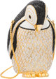 "Judith Leiber Full Bead Silver & Black Crystal Baumann Penguin Minaudiere Evening Bag Condition: 2 4"" Width..."