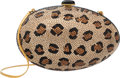 "Luxury Accessories:Bags, Judith Leiber Full Bead Gold & Black Crystal Leopard Print EggMinaudiere Evening Bag. Condition: 3. 5.5"" Width x 7""H..."