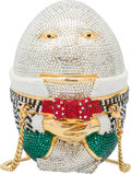 "Luxury Accessories:Bags, Judith Leiber Full Bead Silver, Green & Red Crystal EggMinaudiere Evening Bag. Condition: 2. 4"" Width x 6"" Le..."