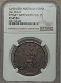 "Australia, Australia: Sydney - New South Wales ""J.M. Leigh Tobacconist"" copperPenny Token ND (1862) XF45 Brown NGC,..."
