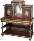Furniture : French, A Napoleon III Ebonized, Burlwood, Porcelain, and GiltBronze-Mounted Cabinet, late 19th century. 59-1/2 h x 53 w x 21-3/4d...