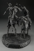 Fine Art - Sculpture, American, K.R. Hamorzsky (American, 20th Century). The Fight. Bronzewith back patina. 22 inches (55.9 cm) high. Ed. 1/5. Inscribe...