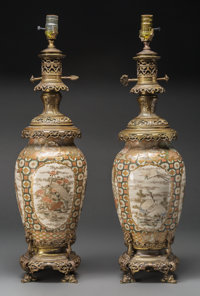 A Pair of Japanese Satsuma Pottery and Bronze Vases Mounted as Table Lamps, late 19th century and later 36 inches