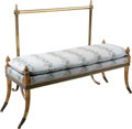 Furniture : French, A Louis XVI-Style Giltwood Banquette Bench with Brass Towel Rail.36 h x 37 w x 15 d inches (91.4 x 94.0 x 38.1 cm) (rail). ...(Total: 2 Items)